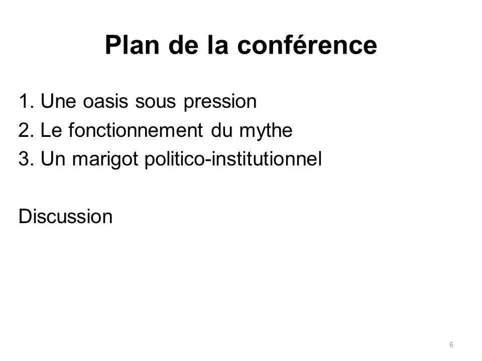 Plan de la conférence 1. Une oasis sous pression 2.