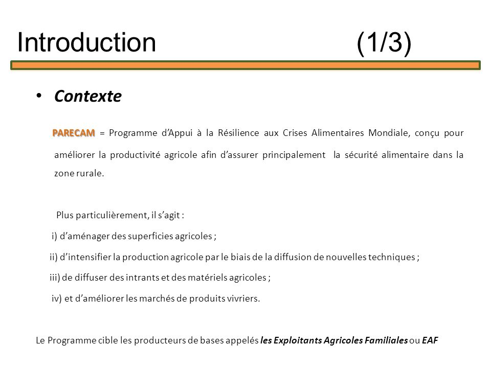 Introduction (1/3) Contexte