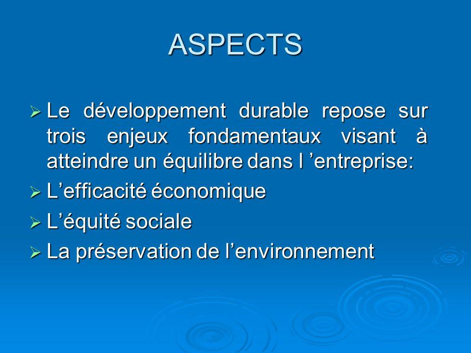 ASPECTS Le développement durable repose sur trois enjeux fondamentaux visant à atteindre un équilibre dans l 'entreprise: