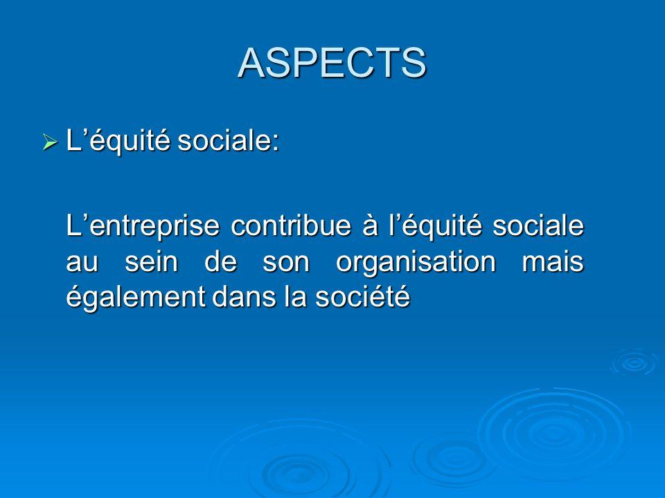 ASPECTS L'équité sociale:
