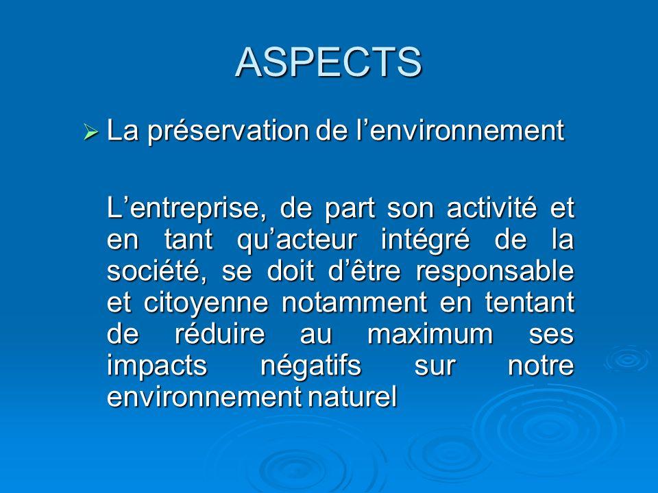 ASPECTS La préservation de l'environnement