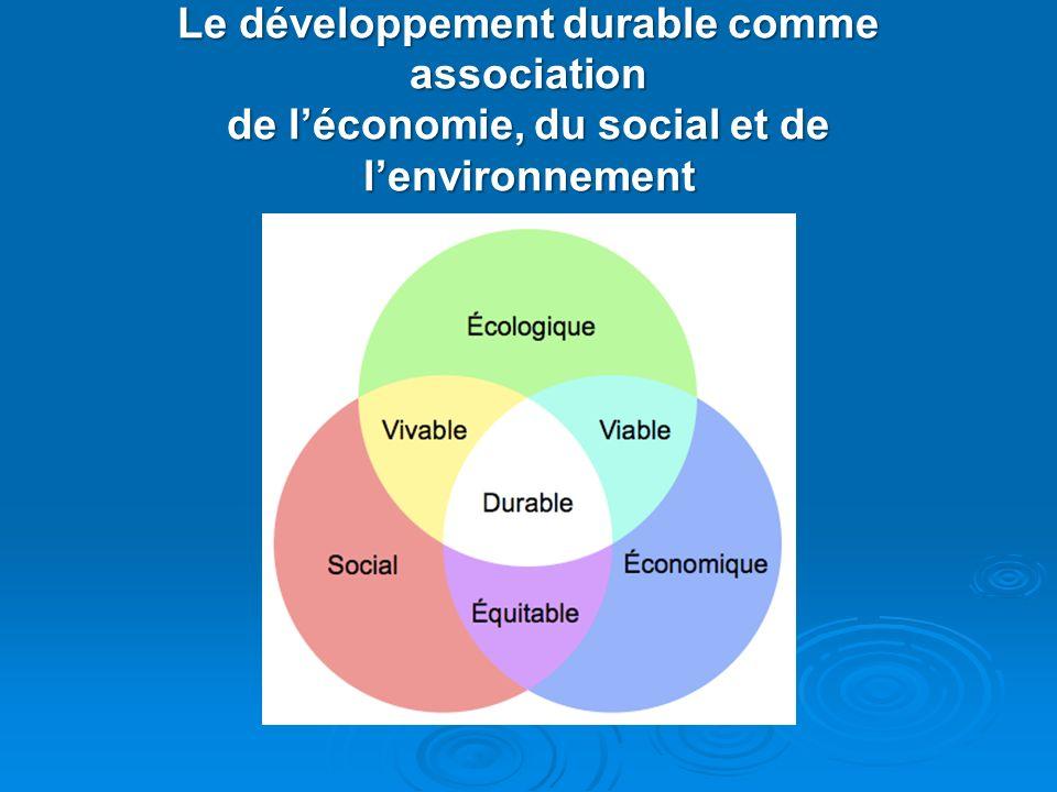 Le développement durable comme association de l'économie, du social et de l'environnement