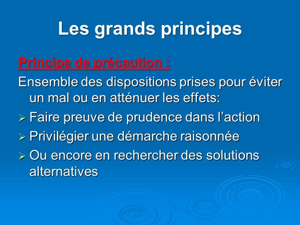 Les grands principes Principe de précaution :