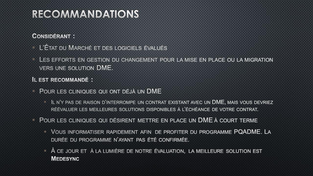 Recommandations Considérant :