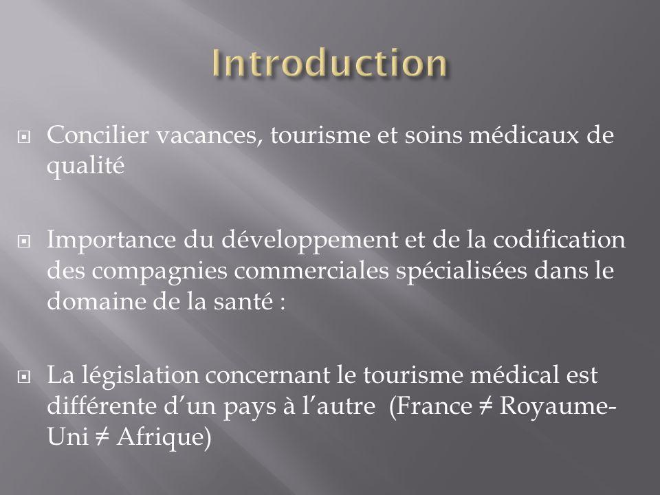 Introduction Concilier vacances, tourisme et soins médicaux de qualité