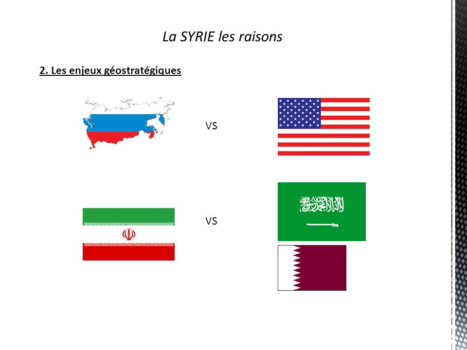 La SYRIE les raisons 2. Les enjeux géostratégiques VS VS