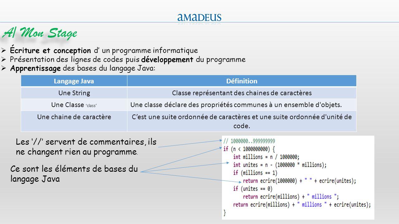 A/ Mon Stage Écriture et conception d' un programme informatique. Présentation des lignes de codes puis développement du programme.