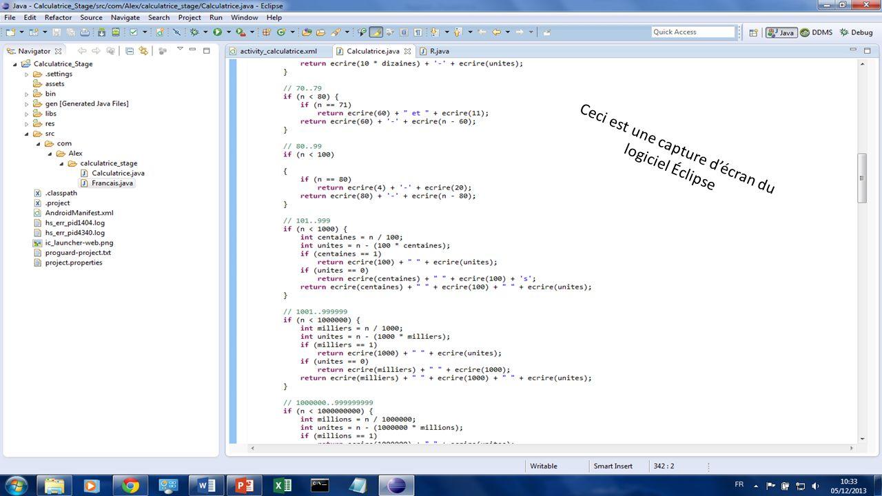 Ceci est une capture d'écran du logiciel Éclipse