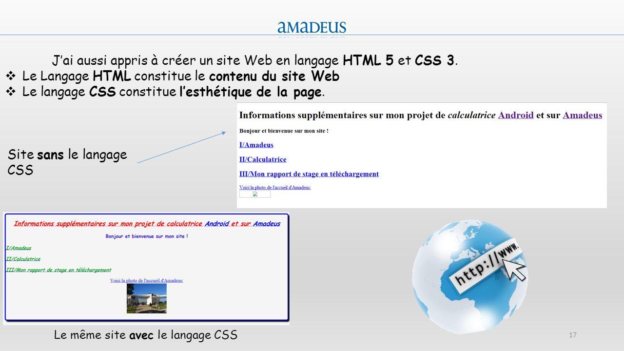 Le même site avec le langage CSS