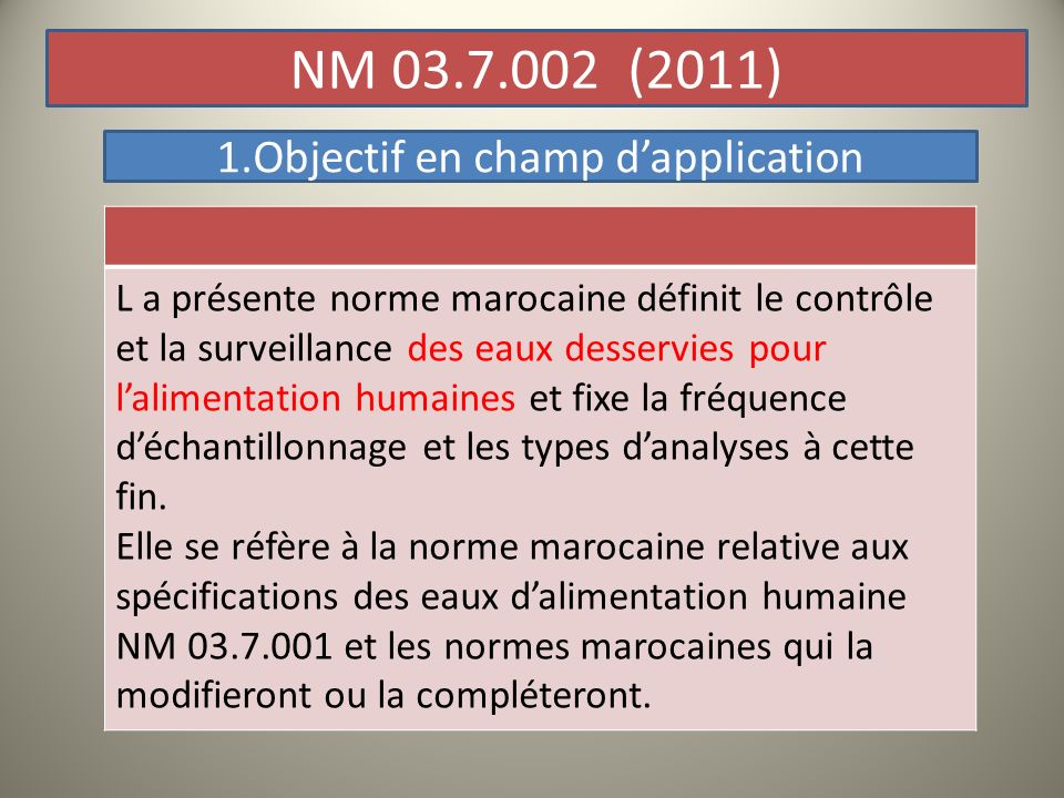 1.Objectif en champ d'application