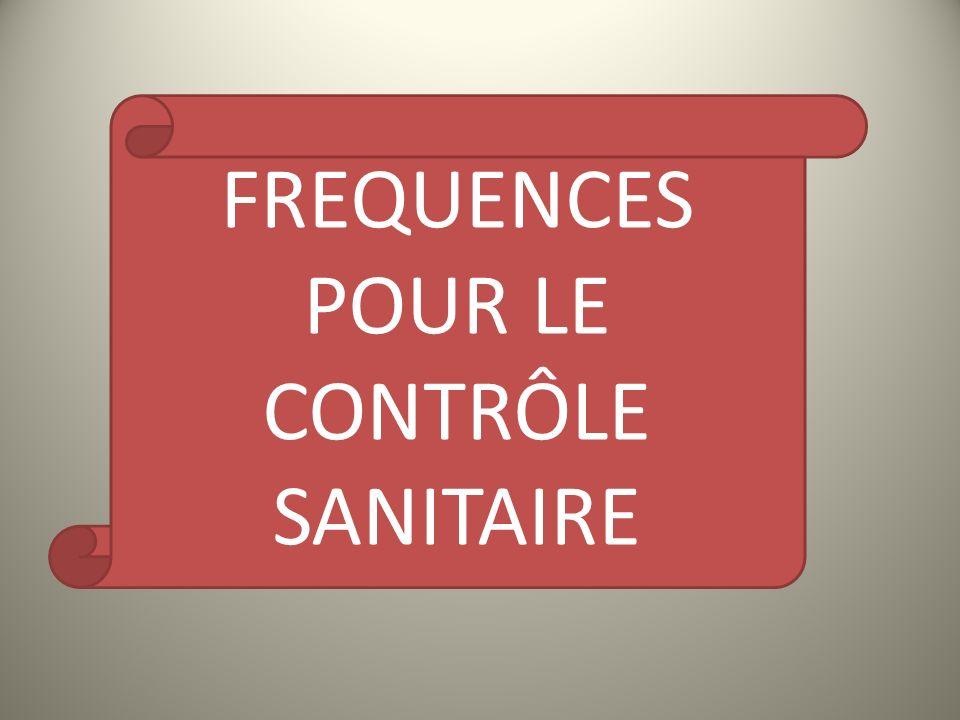 FREQUENCES POUR LE CONTRÔLE SANITAIRE