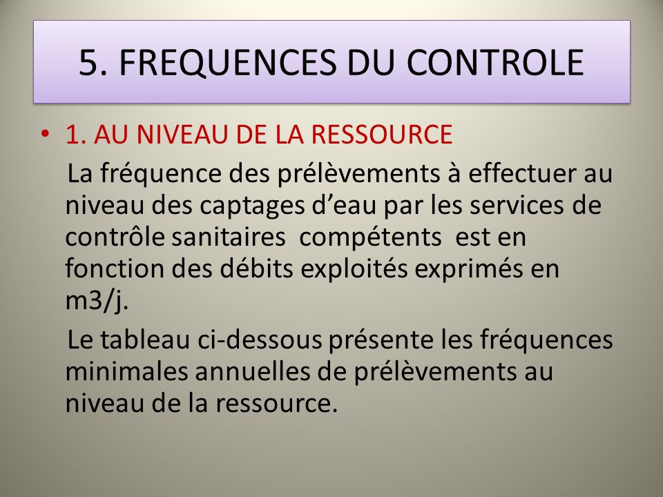 5. FREQUENCES DU CONTROLE