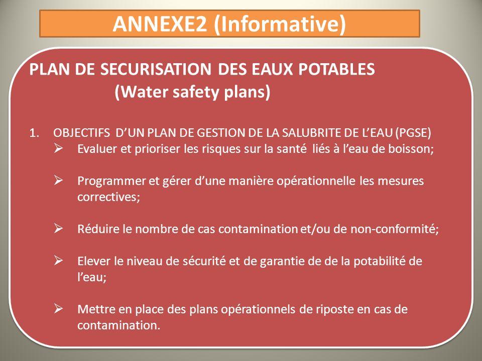 ANNEXE2 (Informative) PLAN DE SECURISATION DES EAUX POTABLES