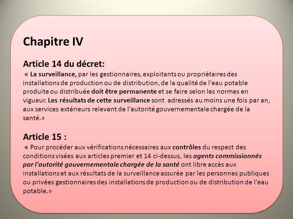 Chapitre IV Article 14 du décret: Article 15 :