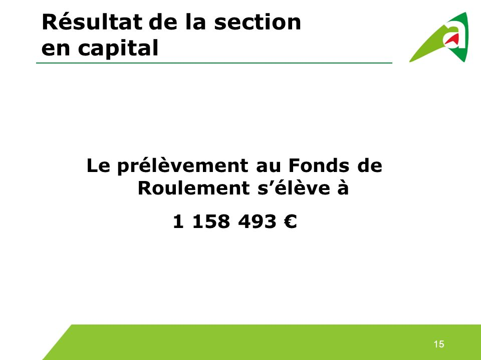 Résultat de la section en capital