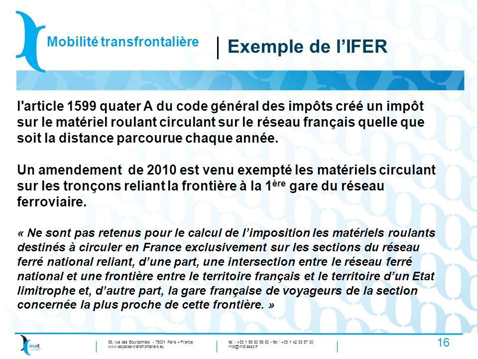 Exemple de l'IFER Mobilité transfrontalière