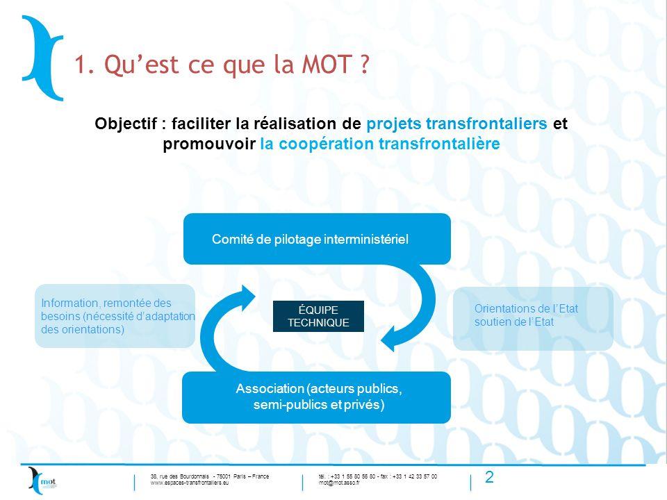 1. Qu'est ce que la MOT Objectif : faciliter la réalisation de projets transfrontaliers et promouvoir la coopération transfrontalière.