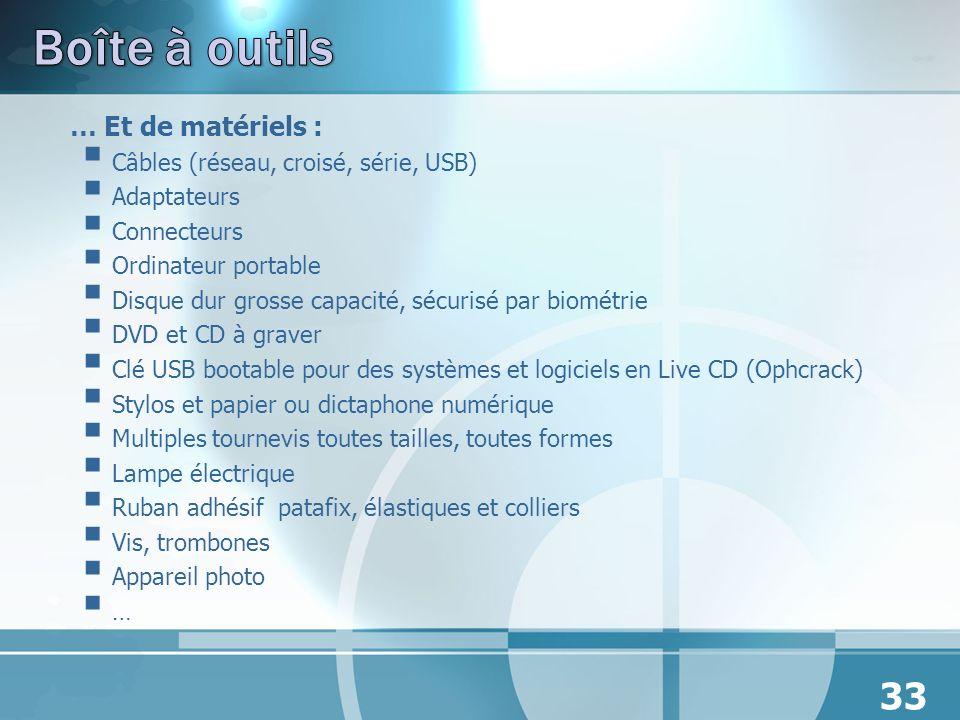 Boîte à outils … Et de matériels : Câbles (réseau, croisé, série, USB)