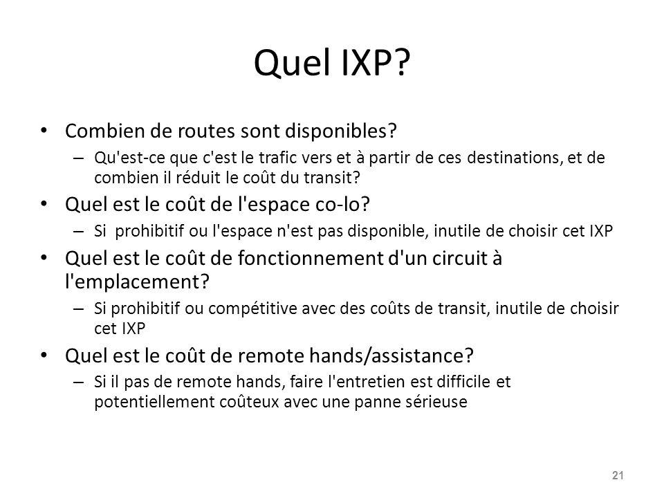 Quel IXP Combien de routes sont disponibles
