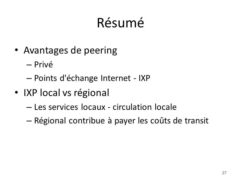Résumé Avantages de peering IXP local vs régional Privé