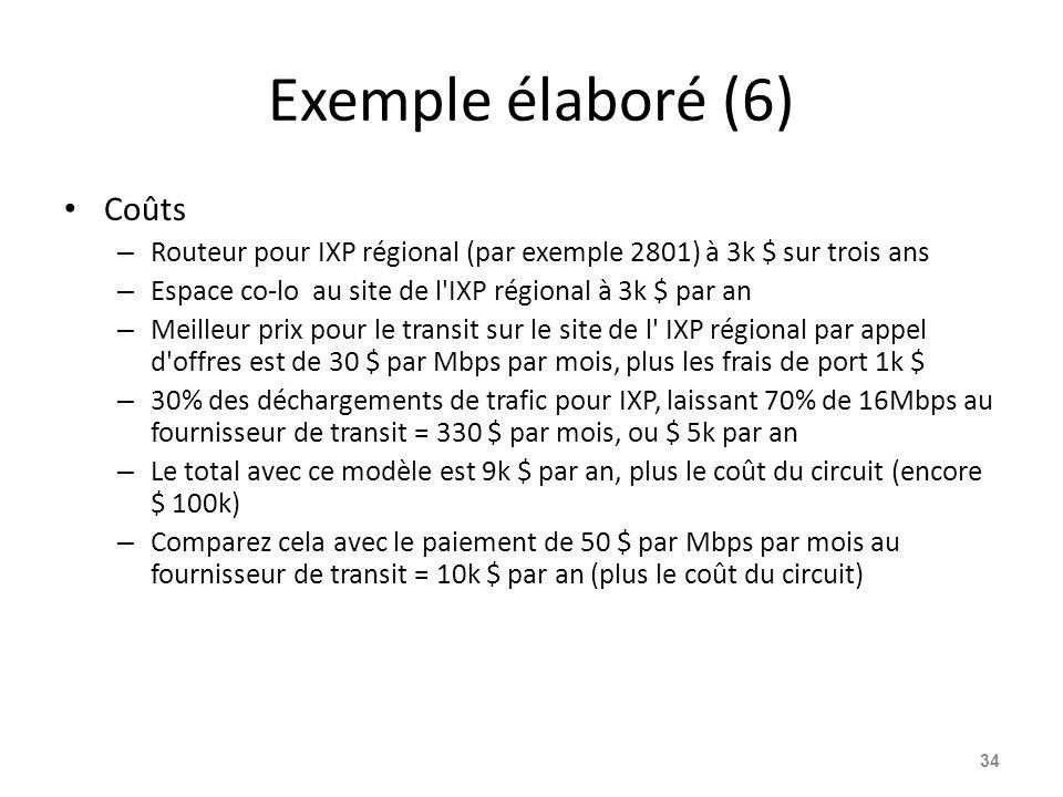 Exemple élaboré (6) Coûts