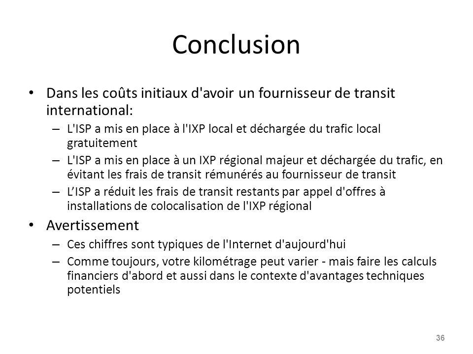 Conclusion Dans les coûts initiaux d avoir un fournisseur de transit international: