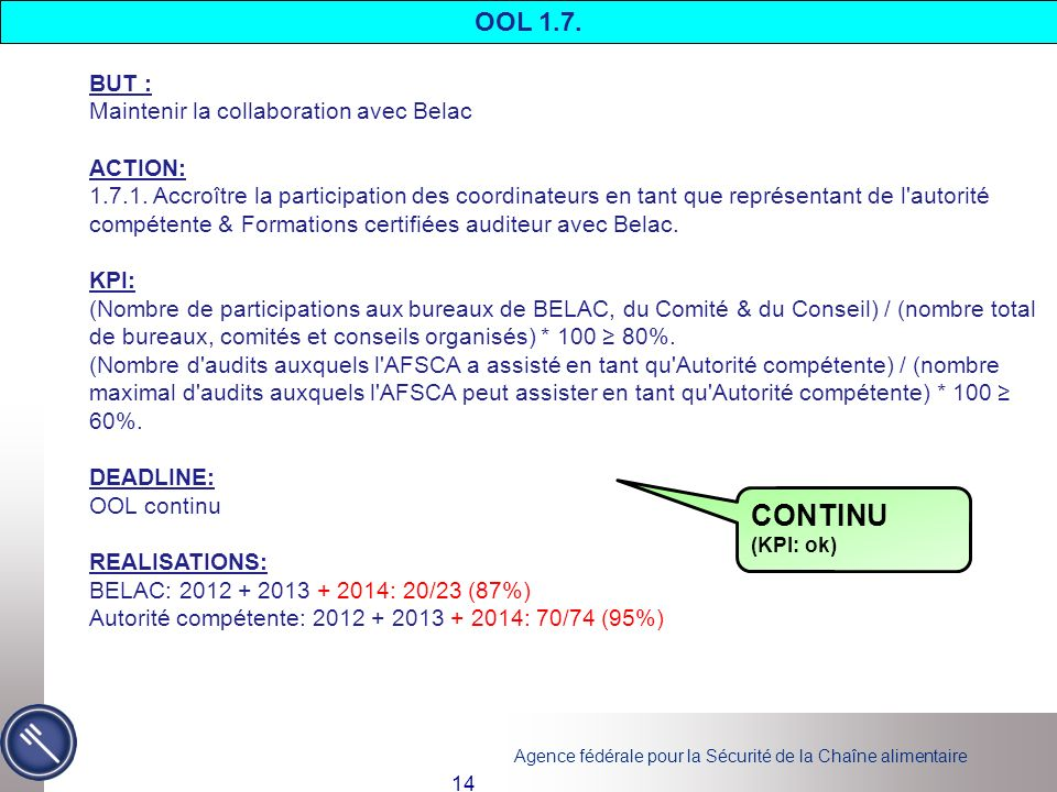 CONTINU OOL 1.7. BUT : Maintenir la collaboration avec Belac ACTION: