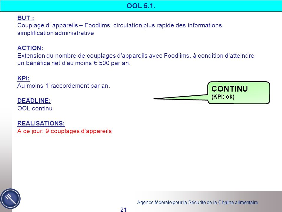 OOL 5.1. BUT : Couplage d' appareils – Foodlims: circulation plus rapide des informations, simplification administrative.