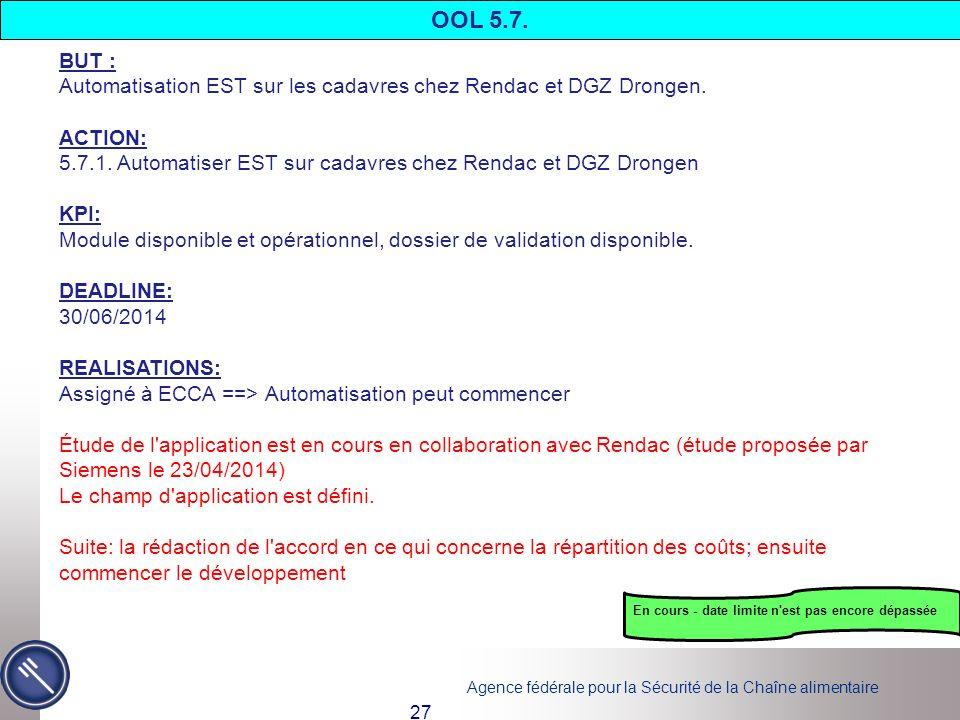 OOL 5.7. BUT : Automatisation EST sur les cadavres chez Rendac et DGZ Drongen. ACTION: