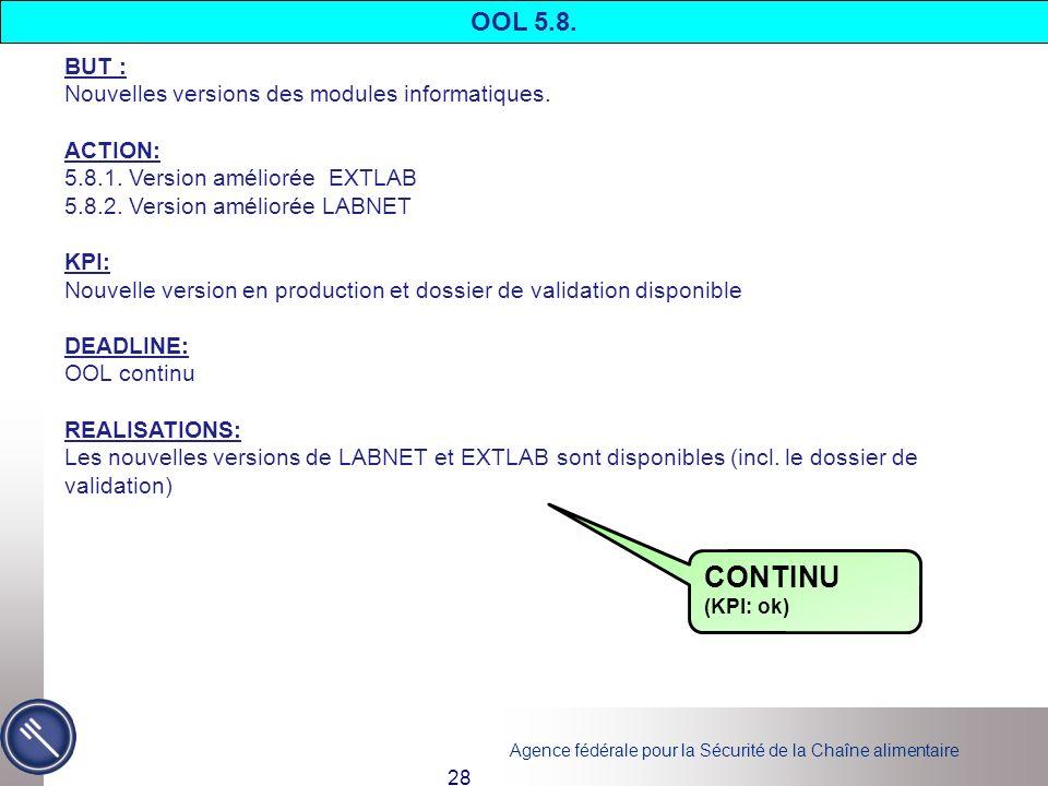 CONTINU OOL 5.8. BUT : Nouvelles versions des modules informatiques.
