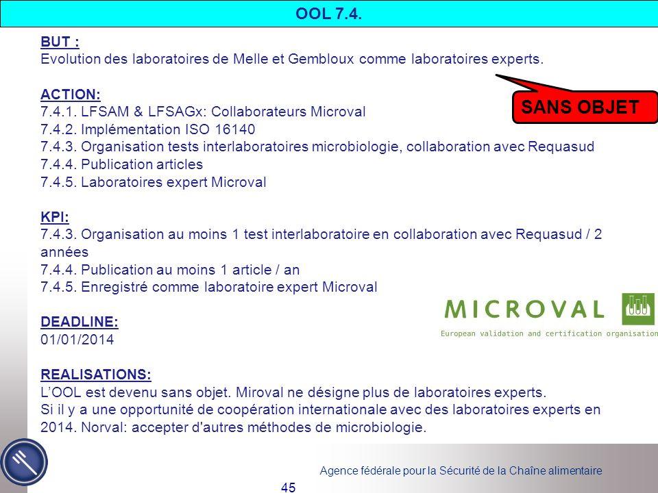 OOL 7.4. BUT : Evolution des laboratoires de Melle et Gembloux comme laboratoires experts. ACTION: