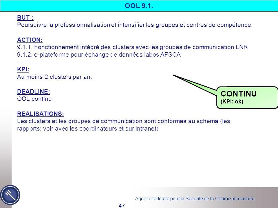 OOL 9.1. BUT : Poursuivre la professionnalisation et intensifier les groupes et centres de compétence.