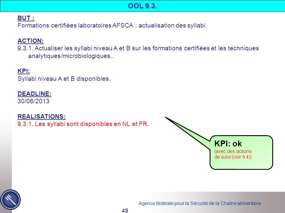 OOL 9.3. BUT : Formations certifiées laboratoires AFSCA : actualisation des syllabi. ACTION: