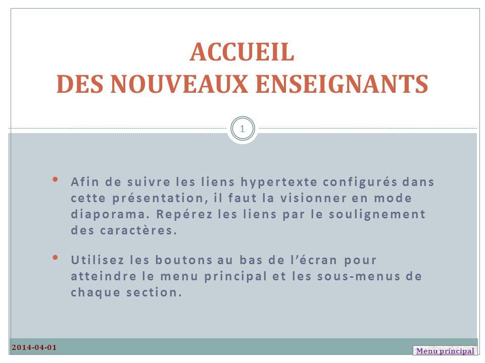 ACCUEIL DES NOUVEAUX ENSEIGNANTS