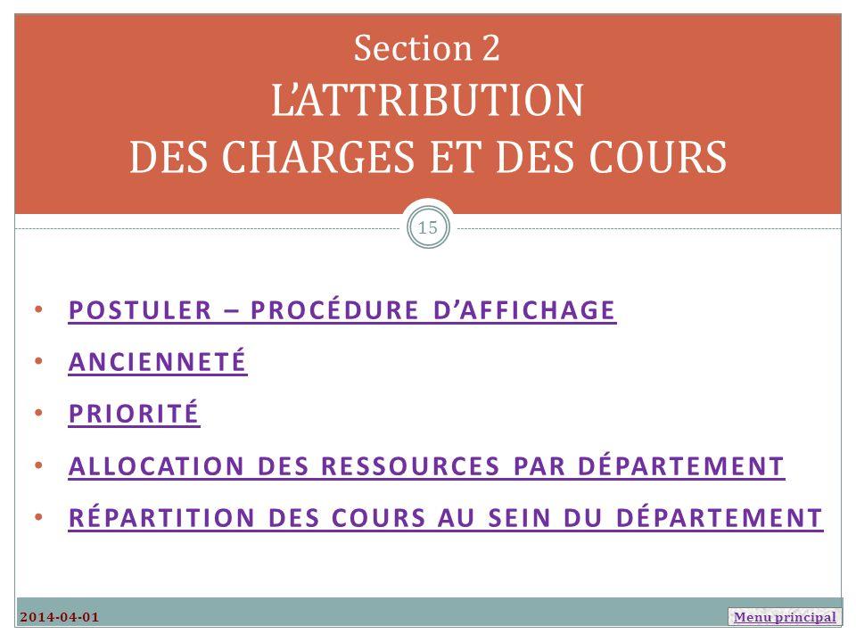 Section 2 L'ATTRIBUTION DES CHARGES ET DES COURS
