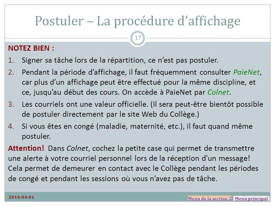 Postuler – La procédure d'affichage