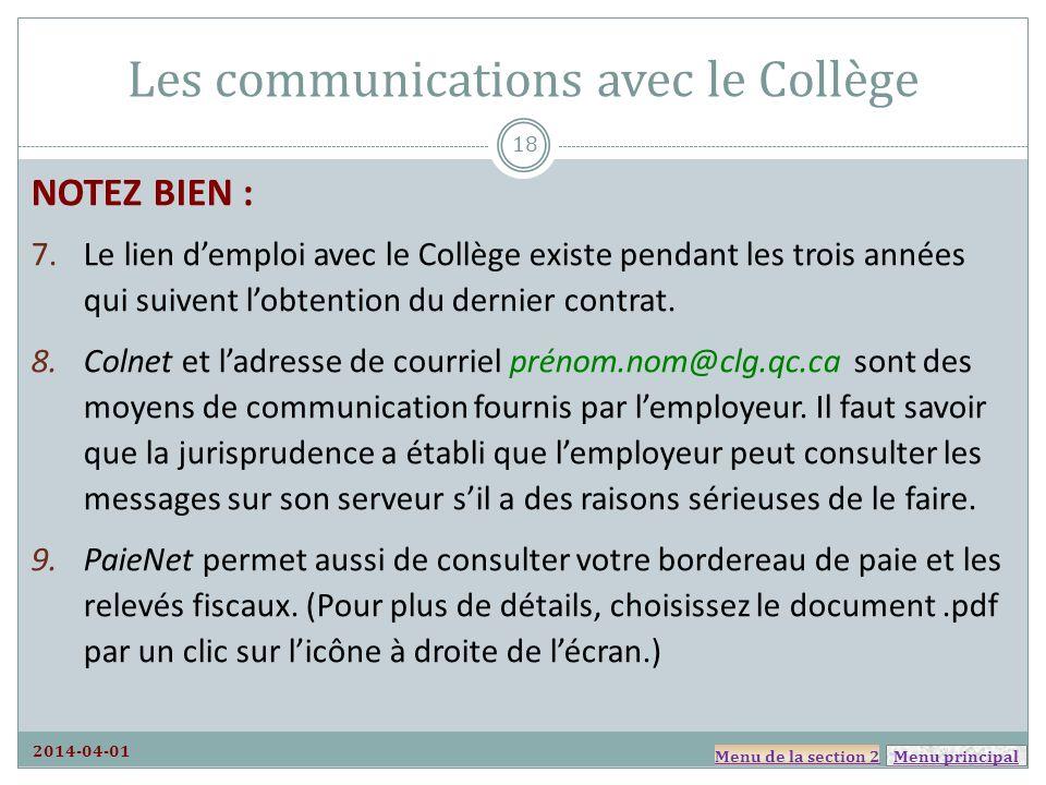 Les communications avec le Collège
