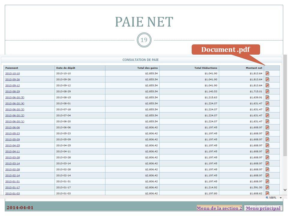 PAIE NET Document .pdf 2014-04-01 Menu de la section 2