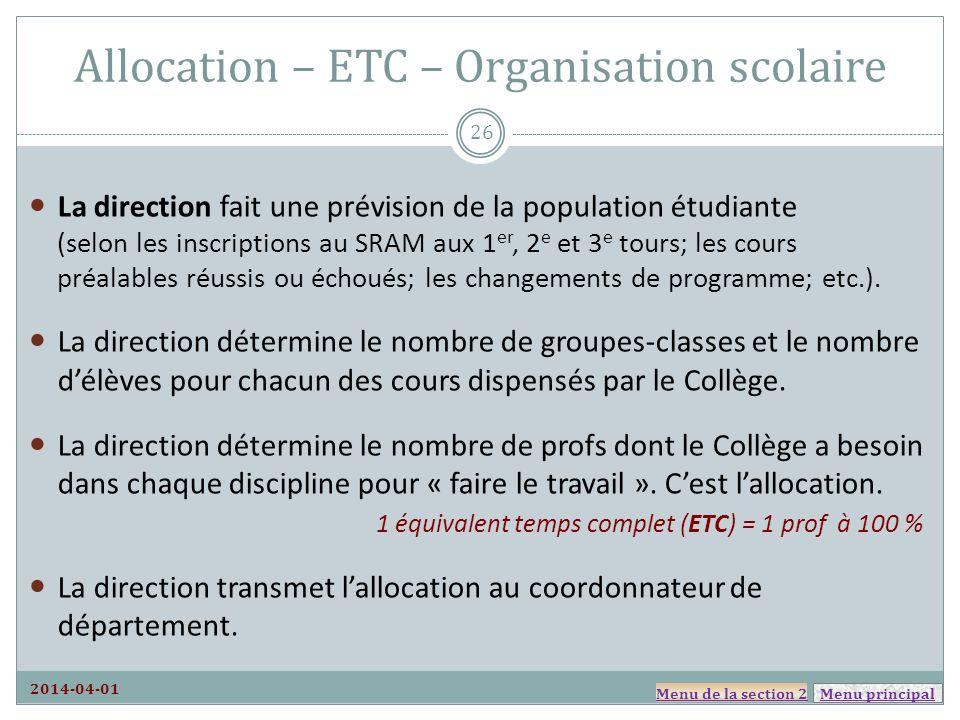 Allocation – ETC – Organisation scolaire