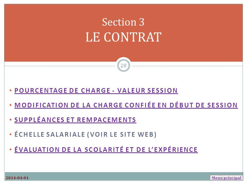 Section 3 LE CONTRAT Pourcentage de charge - Valeur session