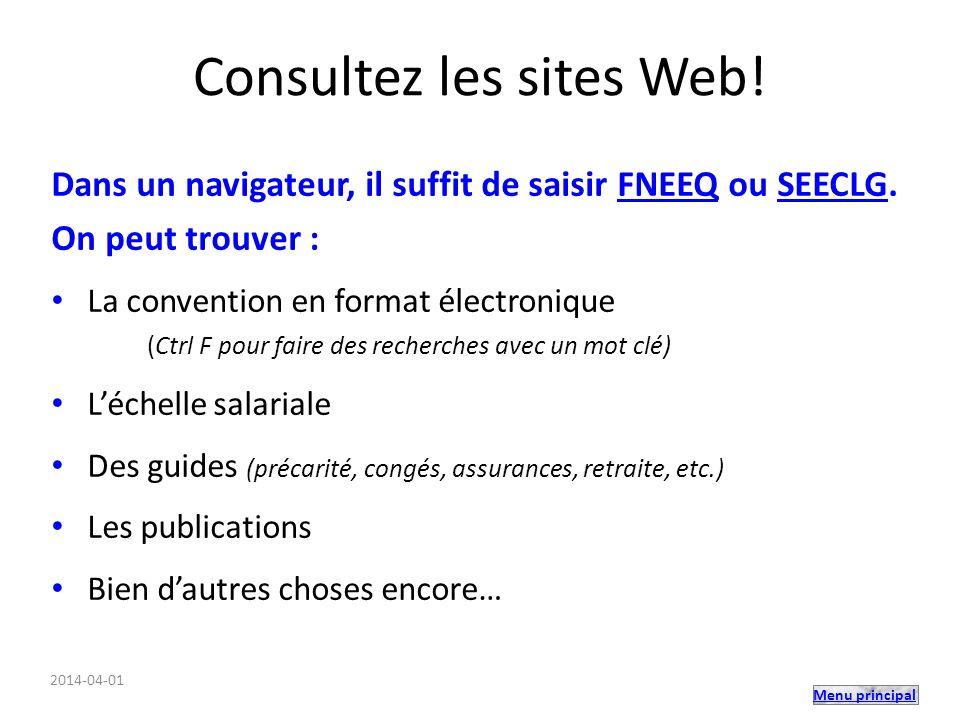 Consultez les sites Web!
