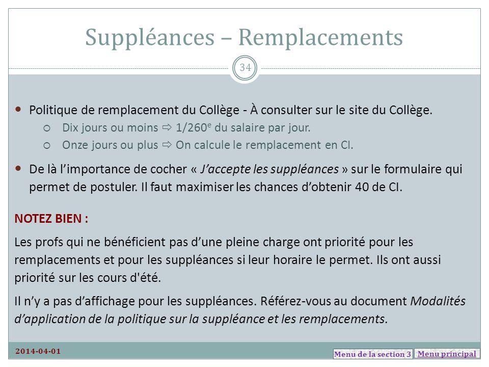 Suppléances – Remplacements