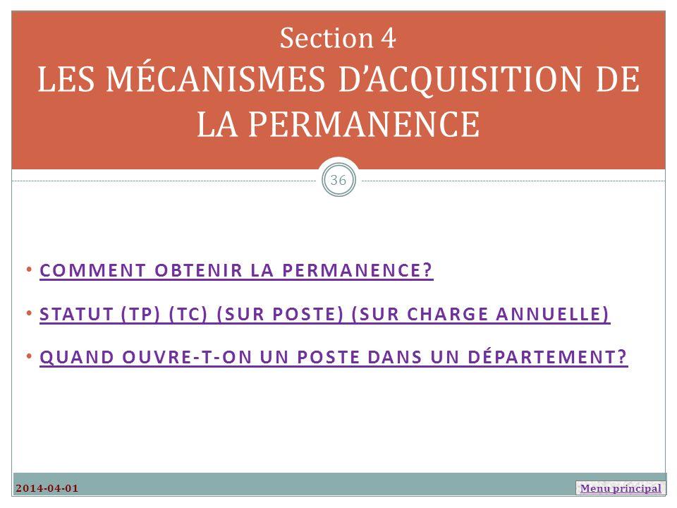 Section 4 LES MÉCANISMES D'ACQUISITION DE LA PERMANENCE