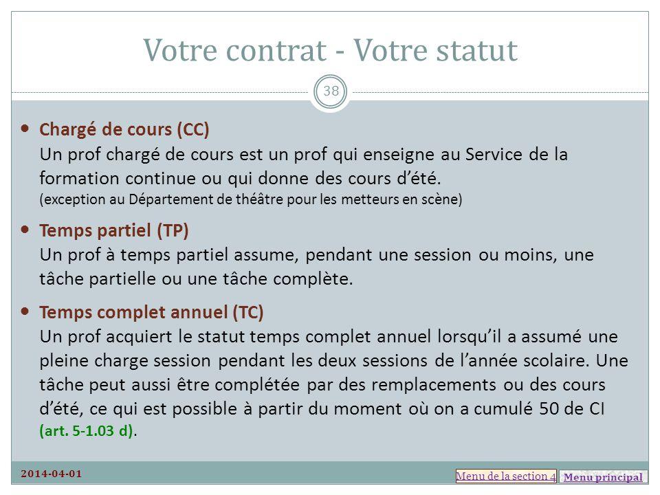 Votre contrat - Votre statut