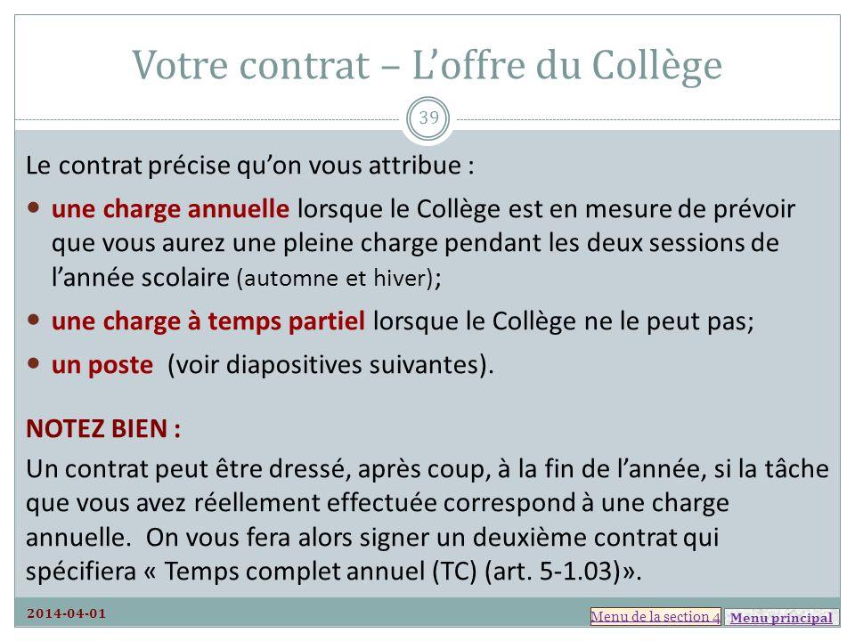 Votre contrat – L'offre du Collège