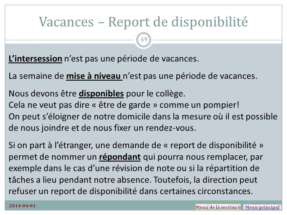 Vacances – Report de disponibilité