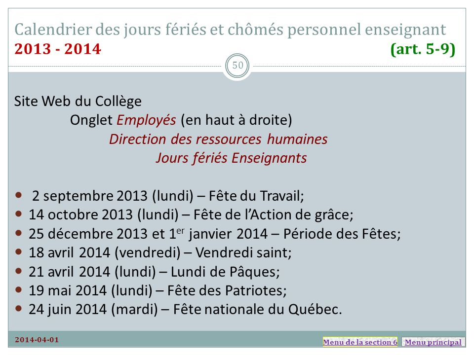 Calendrier des jours fériés et chômés personnel enseignant 2013 - 2014