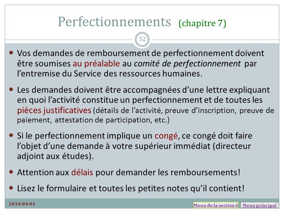 Perfectionnements (chapitre 7)