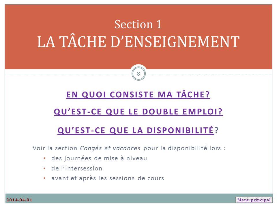 Section 1 LA TÂCHE D'ENSEIGNEMENT