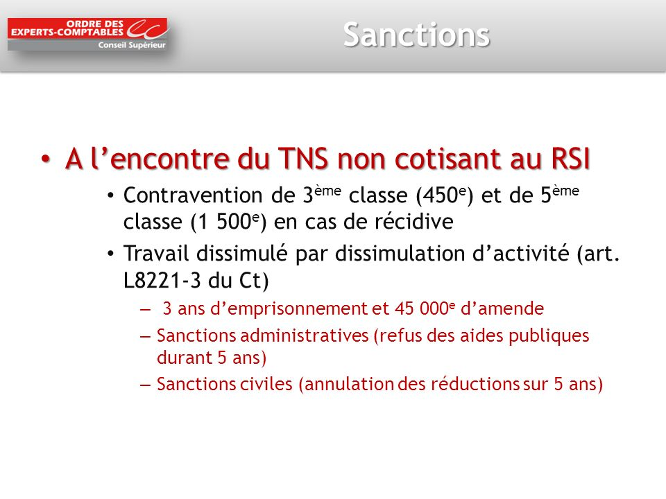 Sanctions A l'encontre du TNS non cotisant au RSI